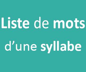Liste de mots d'une syllabe pour le CP