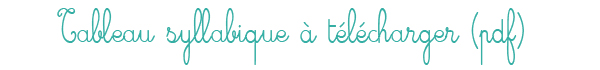 Tableau de syllabes à télécharger en PDF pour le CP