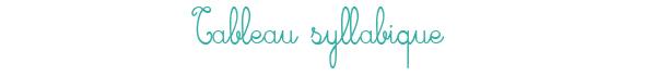 Tableau syllabique pour le CP