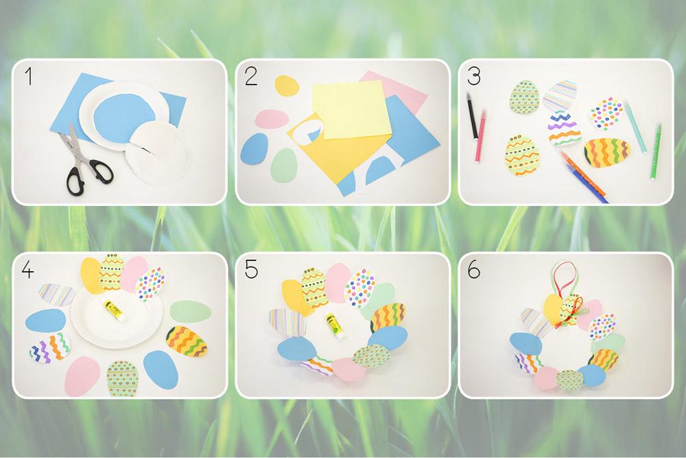 Activité couronne de Pâques en assiettes en carton