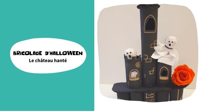 Bricolage de château d'Halloween en rouleaux de papier toilette
