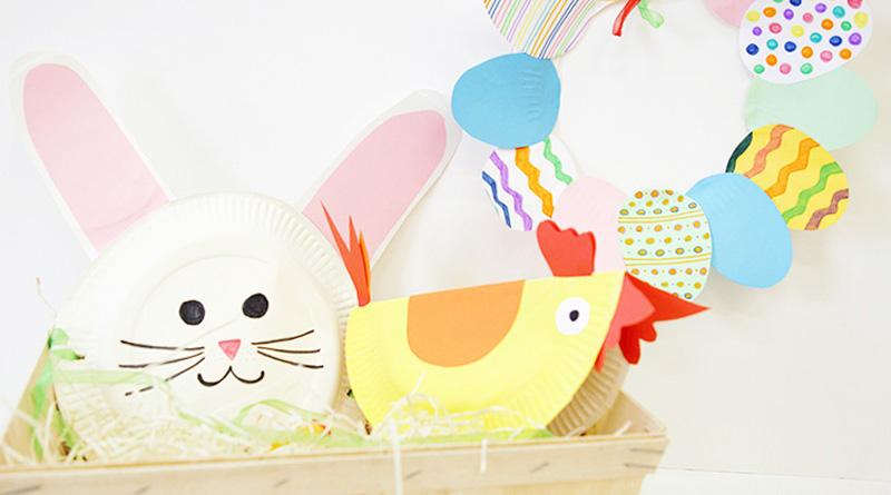 Bricolage de Pâques avec des assiettes en carton