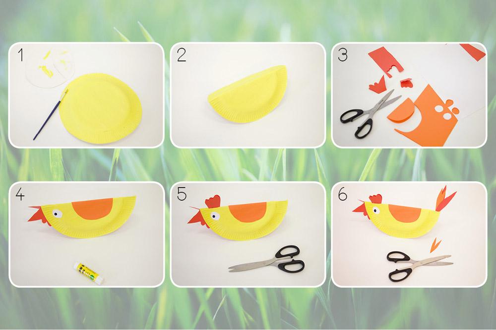 Bricolage de poulet en assiettes en carton