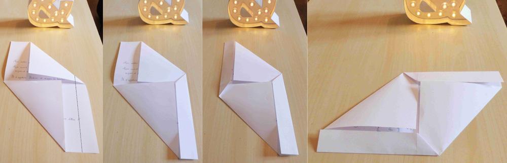 Pliage d'une enveloppe avec une feuille A4